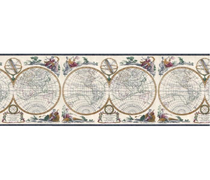 Vintage Wallpaper Borders: Globes Wallpaper Border B4193EB