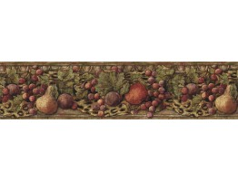 6 3/4 in x 15 ft Prepasted Wallpaper Borders - Fruits Wall Paper Border IL42021B