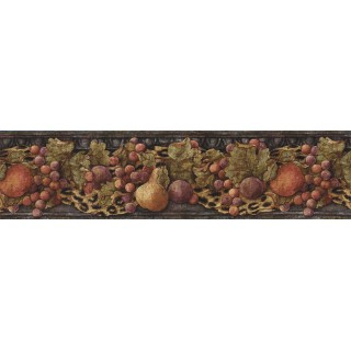 6 3/4 in x 15 ft Prepasted Wallpaper Borders - Fruits Wall Paper Border IL42022B