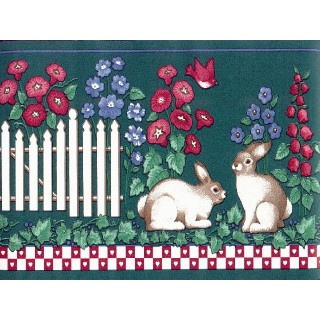 6 3/4 in x 15 ft Prepasted Wallpaper Borders - Rabbits Wall Paper Border PIE4212B