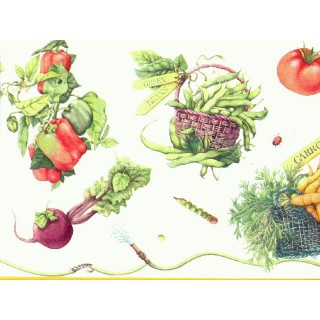 9 in x 15 ft Prepasted Wallpaper Borders - Vegetables Wall Paper Border b4281mb
