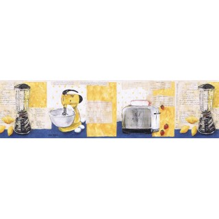 6 7/8 in x 15 ft Prepasted Wallpaper Borders - Kitchen Wall Paper Border KLM43026B