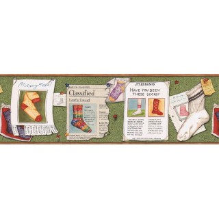 6 7/8 in x 15 ft Prepasted Wallpaper Borders - Socks Wall Paper Border KLM43038B