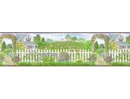 8 in x 15 ft Prepasted Wallpaper Borders - Garden Wall Paper Border b48012