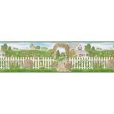 Prepasted Wallpaper Borders - Garden Wall Paper Border 48013