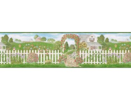 Prepasted Wallpaper Borders - Garden Wall Paper Border 48013