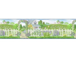 8 in x 15 ft Prepasted Wallpaper Borders - Garden Wall Paper Border b48014