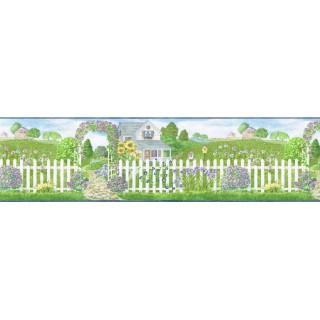 8 in x 15 ft Prepasted Wallpaper Borders - Garden Wall Paper Border b48014