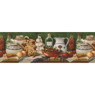 9 in x 15 ft Prepasted Wallpaper Borders - Kitchen Wall Paper Border EL49011B