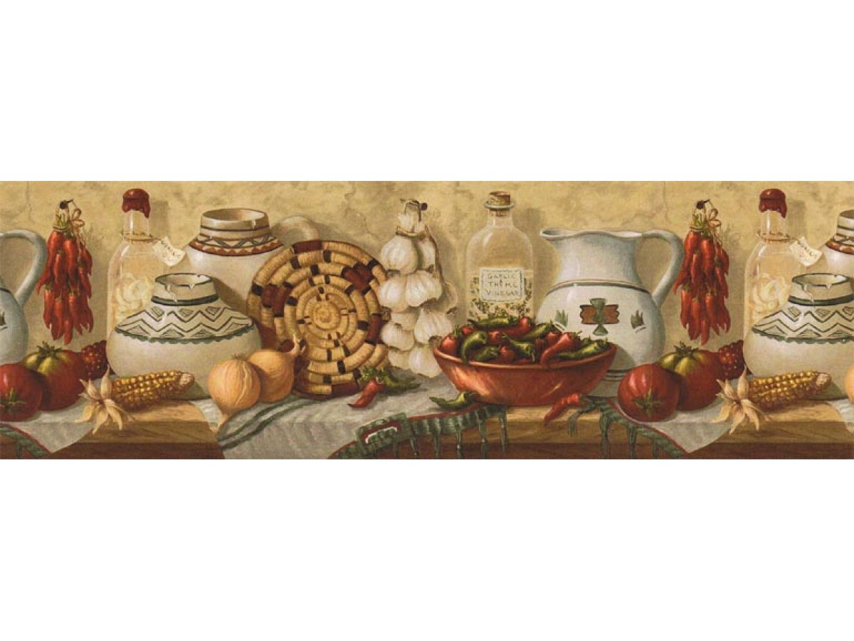 Prepasted Wallpaper Borders - Kitchen Wall Paper Border EL49012B