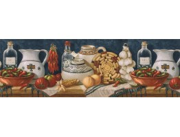 9 in x 15 ft Prepasted Wallpaper Borders - Kitchen Wall Paper Border EL49013B