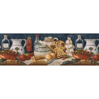 9 in x 15 ft Prepasted Wallpaper Borders - Kitchen Wall Paper Border EL49013B