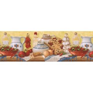 9 in x 15 ft Prepasted Wallpaper Borders - Kitchen Wall Paper Border EL49014B