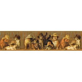 6 7/8 in x 15 ft Prepasted Wallpaper Borders - Cats Wall Paper Border EL49030B