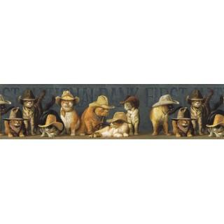 6 7/8 in x 15 ft Prepasted Wallpaper Borders - Cats Wall Paper Border EL49031B