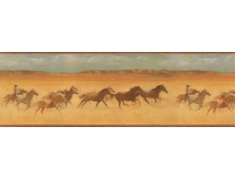 9 in x 15 ft Prepasted Wallpaper Borders - Horses Wall Paper Border EL49046B