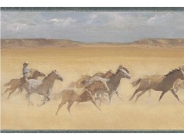 9 in x 15 ft Prepasted Wallpaper Borders - Horses Wall Paper Border EL49047B