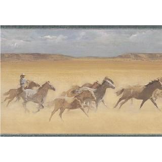 9 in x 15 ft Prepasted Wallpaper Borders - Horses Wall Paper Border EL49047B
