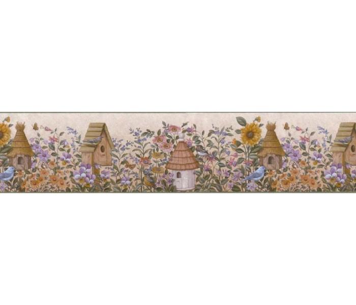 Clearance: Birds House Wallpaper Border B49509