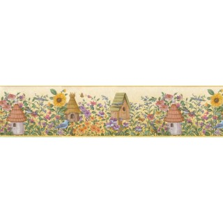 6 7/8 in x 15 ft Prepasted Wallpaper Borders - Birds House Wall Paper Border B49510