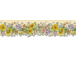 6 1/2 in x 15 ft Prepasted Wallpaper Borders - Floral Wall Paper Border B49514