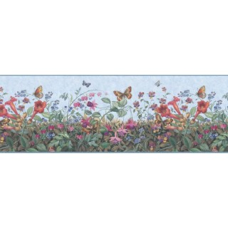 10 in x 15 ft Prepasted Wallpaper Borders - Floral Wall Paper Border B49516