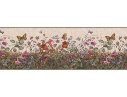 10 in x 15 ft Prepasted Wallpaper Borders - Floral Wall Paper Border B49517