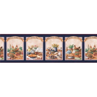 9 in x 15 ft Prepasted Wallpaper Borders - Kitchen Wall Paper Border B49529
