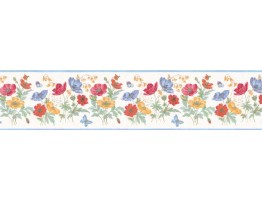 Prepasted Wallpaper Borders - Floral Wall Paper Border B49911
