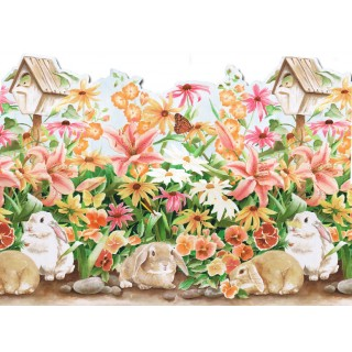 20 in x 15 ft Prepasted Wallpaper Borders - Rabbits Wall Paper Border B50002