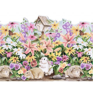 20 in x 15 ft Prepasted Wallpaper Borders - Rabbits Wall Paper Border B50004