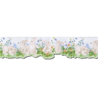 6 1/2 in x 15 ft Prepasted Wallpaper Borders - Rabbits Wall Paper Border B50026
