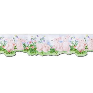 6 1/2 in x 15 ft Prepasted Wallpaper Borders - Rabbits Wall Paper Border B50027