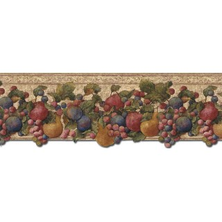 9 in x 15 ft Prepasted Wallpaper Borders - Fruits Wall Paper Border FF51003DB