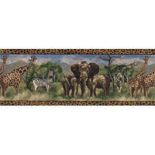 8 1/2 in x 15 ft Prepasted Wallpaper Borders - Animals Wall Paper Border FF51114B