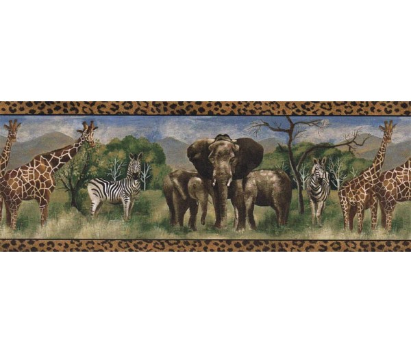 Jungle Wallpaper Borders: Animals Wallpaper Border FF51114B