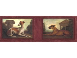 9 in x 15 ft Prepasted Wallpaper Borders - Dogs Wall Paper Border b51651