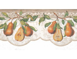 Prepasted Wallpaper Borders - Pear Fruits Wall Paper Border b52040