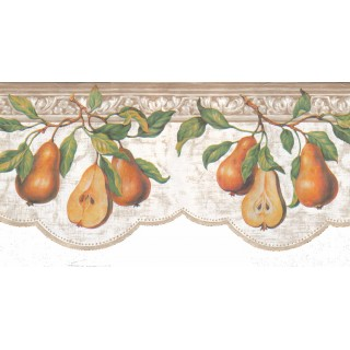 9 1/4 in x 15 ft Prepasted Wallpaper Borders - Pear Fruits Wall Paper Border b52040