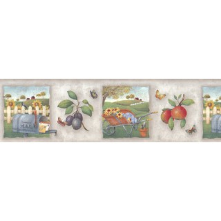 6 7/8 in x 15 ft Prepasted Wallpaper Borders - Country Wall Paper Border b55056