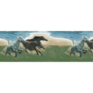 10 1/4 in x 15 ft Prepasted Wallpaper Borders - Horses Wall Paper Border B56821