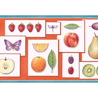 9 in x 15 ft Prepasted Wallpaper Borders - Fruits Wall Paper Border PB58001B