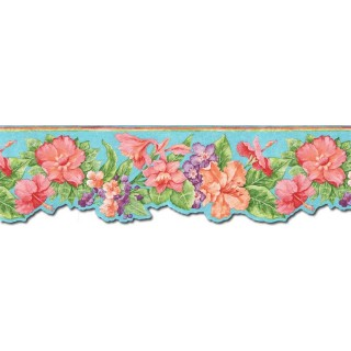 7 3/4 in x 15 ft Prepasted Wallpaper Borders - Floral Wall Paper Border PB58016DB