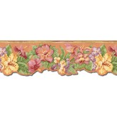 Clearance Floral Wallpaper Border PB58018DB Chesapeake Wallcoverings