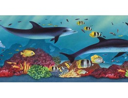 6 7/8 in x 15 ft Prepasted Wallpaper Borders - Acquarium Wall Paper Border PB58020B