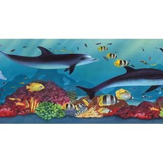 6 7/8 in x 15 ft Prepasted Wallpaper Borders - Acquarium Wall Paper Border PB58020B