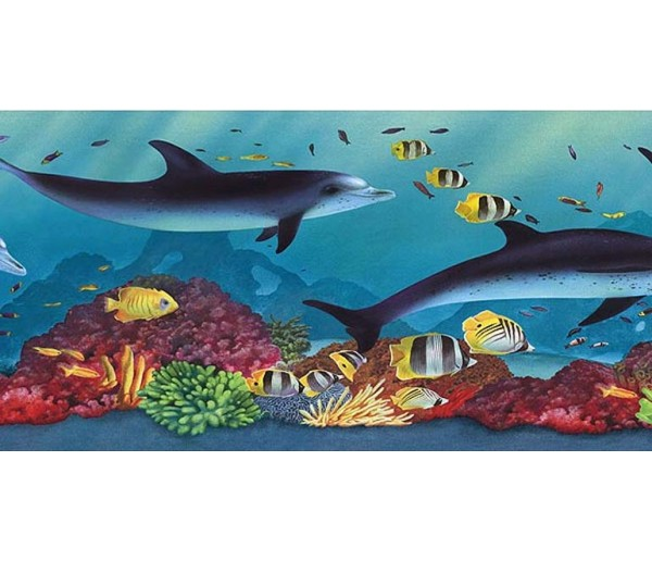 Sea World Wall Borders: Acquarium Wallpaper Border PB58020B