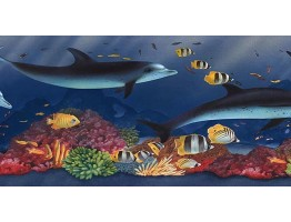 6 7/8 in x 15 ft Prepasted Wallpaper Borders - Acquarium Wall Paper Border PB58021B