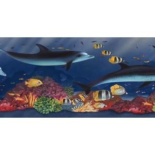 6 7/8 in x 15 ft Prepasted Wallpaper Borders - Acquarium Wall Paper Border PB58021B
