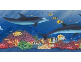 6 7/8 in x 15 ft Prepasted Wallpaper Borders - Acquarium Wall Paper Border PB58022B